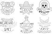 Mexicano Menu Traditional Spicy Cuisine Hand Drawn Retro Labels Set, Fresh Mexicano Food Monochrome Badges Vector Illustration