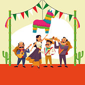 Mexicans on celebration at cinco de mayo cartoon at desert vector  illustration graphic design