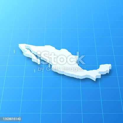 3D map of Mexico isolated on a blank blueprint, with a dropshadow (color used: blue and white). Vector Illustration (EPS10, well layered and grouped). Easy to edit, manipulate, resize or colorize.