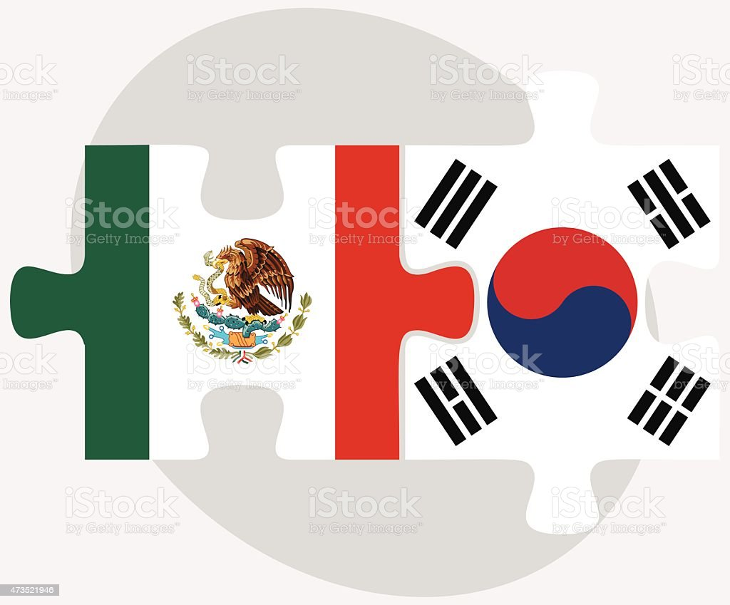 mexico and south korea flags in puzzle stock vector