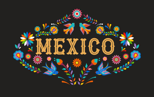Mexico background, banner with colorful Mexican flowers, birds and elements vector art illustration