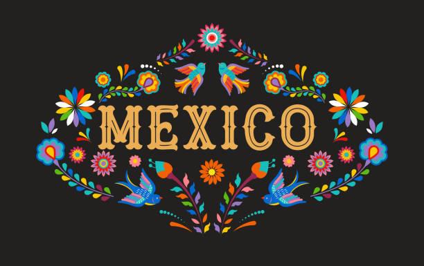ilustraciones, imágenes clip art, dibujos animados e iconos de stock de fondo méxico, bandera con elementos, aves y flores de colores mexicanos - méxico