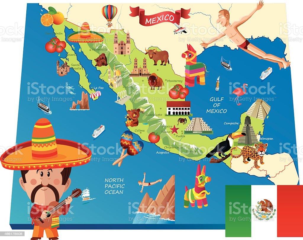 Carte de dessin anim de mexico stock vecteur libres de droits 466175506 istock - Dessin du mexique ...