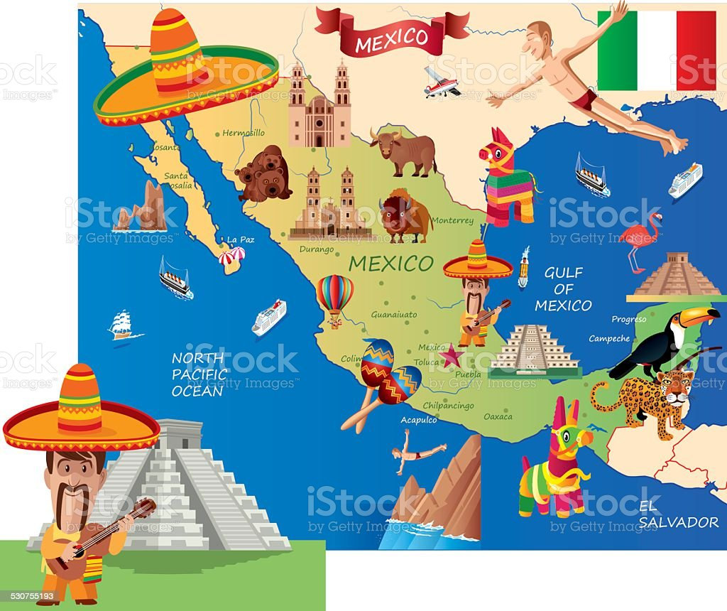 Mexico Cartoon Map Stock Vector Art IStock - Maps de mexico