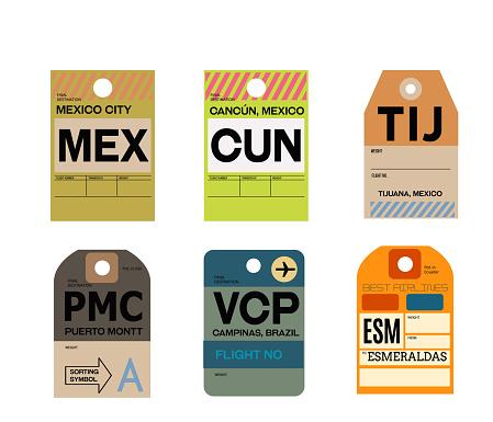 mexico city cancun tijuana puerto montt campinas esmeraldas baggage tag