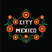 Mexico City. Decorative floral letters typography vector