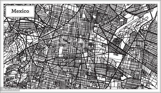 Mapa de la ciudad de México en Color blanco y negro.