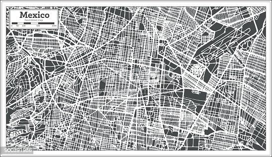 Mapa de la ciudad de México en estilo Retro. Mapa de contorno.