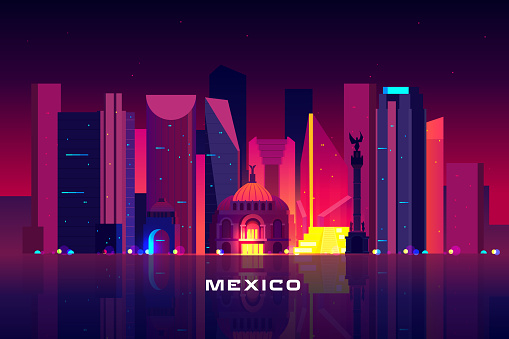 Mexico city skyline, neon lighting Night cityscape