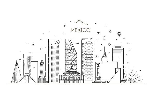Die Skyline der Stadt Mexiko-Stadt auf weißem Hintergrund. Flache Vektorabbildung – Vektorgrafik