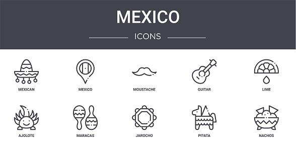 mexico concept line icons set. contains icons usable for web, logo, ui/ux such as mexico, guitar, ajolote, jarocho, pi?ata, nachos, lime, moustache