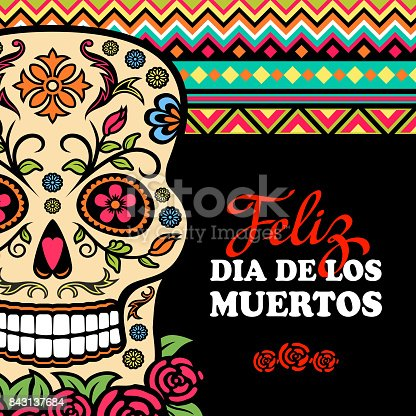 A Mexican celebration honoring the dead with sugar skull and Mexican pattern