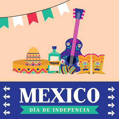 Mexico dia de la independencia with hat tequila guitar and boots vector design
