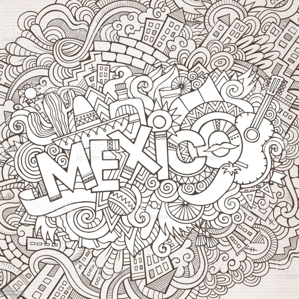 Mexico doodles elements background vector art illustration
