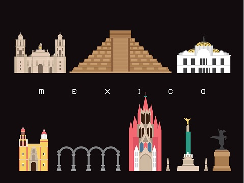 Mexico Famous Landmarks Infographic Templates for Traveling Minimal Style and Icon, Symbol Set Vector Illustration Can be use for Poster Travel book, Postcard, Billboard.
