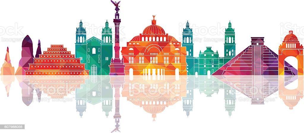 Mexico famous landmarks skyline. Vector illustration