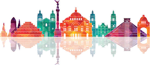 mexico famous landmarks skyline. vector illustration - 獨立 幅插畫檔、美工圖案、卡通及圖標