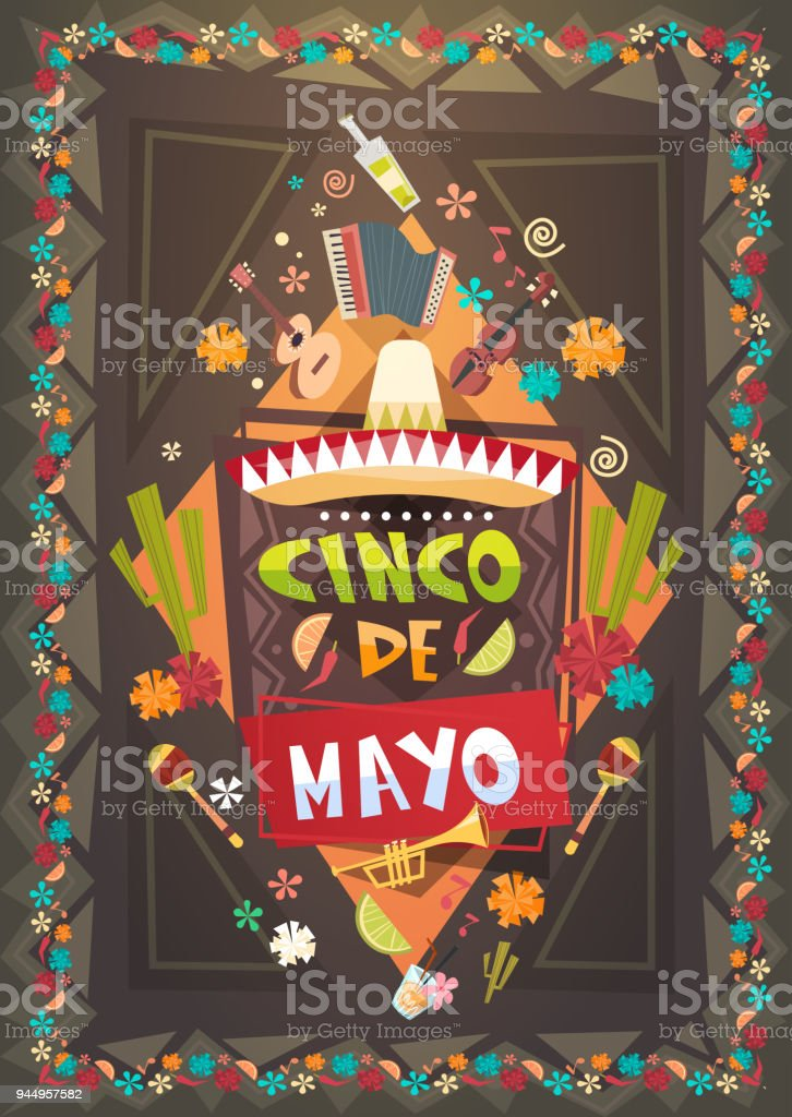 Mexico Festival Cinco De Mayo Poster Mexican Holiday Event Decoration Design Royalty Free