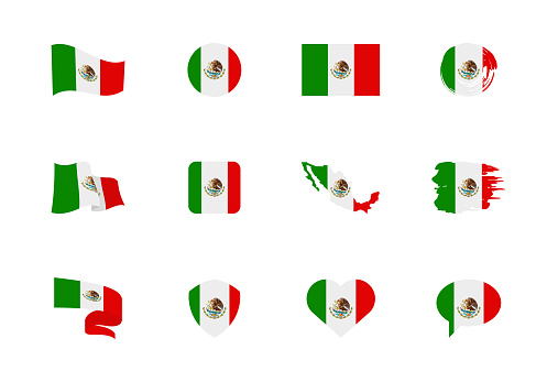 Mexico flag - flat collection. Flags of different shaped twelve flat icons.