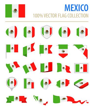 Mexico - Flag Icon Flat Vector Set