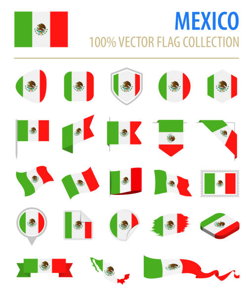 ilustraciones, imágenes clip art, dibujos animados e iconos de stock de mexico - bandera icono vector plano conjunto - bandera mexicana