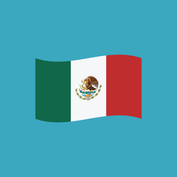 ilustraciones, imágenes clip art, dibujos animados e iconos de stock de icono de la bandera de méxico en diseño plano - bandera mexicana