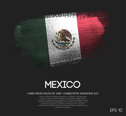 Mexico Flag Made of Glitter Sparkle Brush Paint Vector