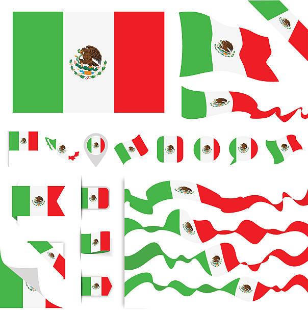 ilustraciones, imágenes clip art, dibujos animados e iconos de stock de mexico flag set - bandera mexicana