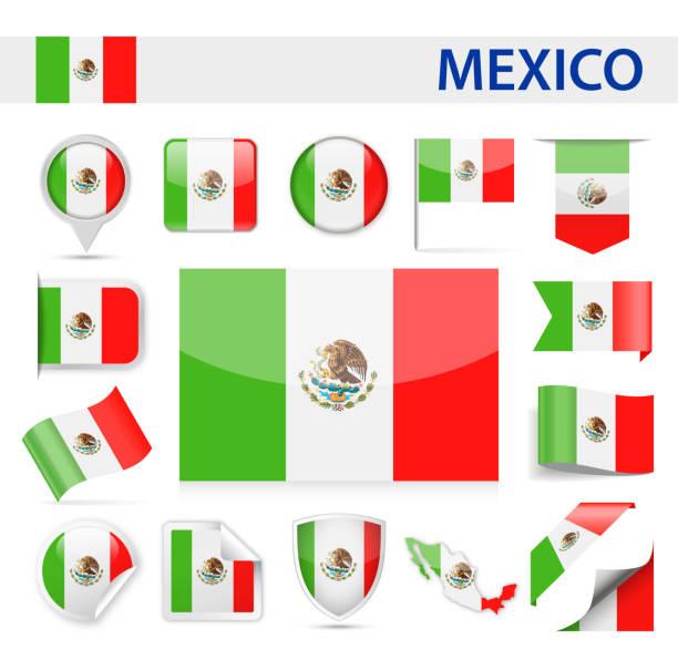 メキシコ旗ベクトルを設定 - メキシコの国旗点のイラスト素材/クリップアート素材/マンガ素材/アイコン素材