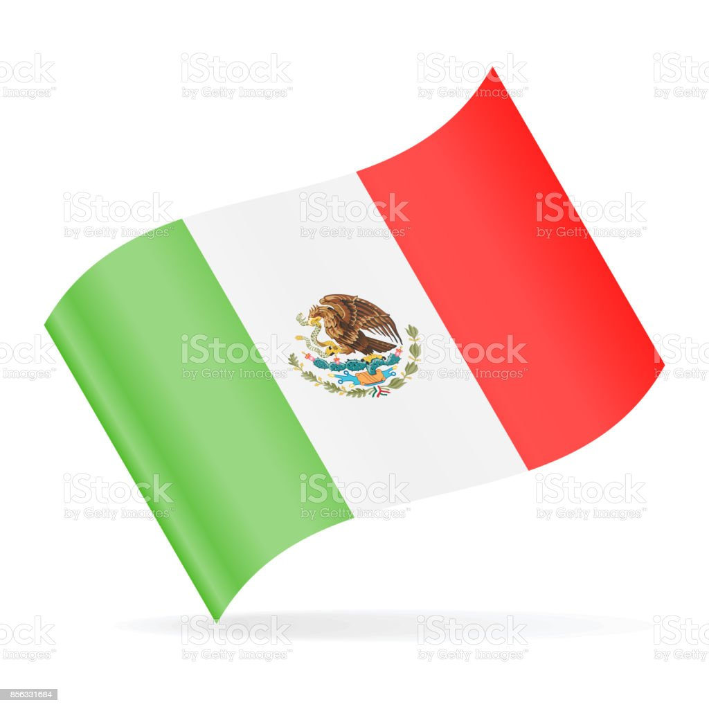 Mexico Flag Vector Waving Icon vector art illustration