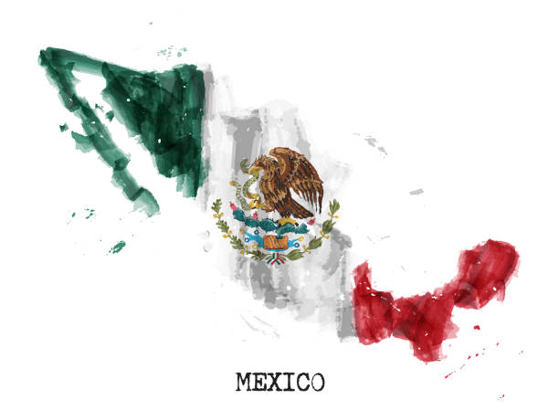 Mexico flag watercolor painting design and country map shape with splatter color . isolated background . Vector . vector art illustration