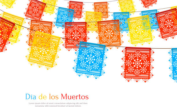 mexico flags realistic background Day of dead as mexican ethnic holiday realistic background with garlands of paper cut party flags vector illustration tradition stock illustrations