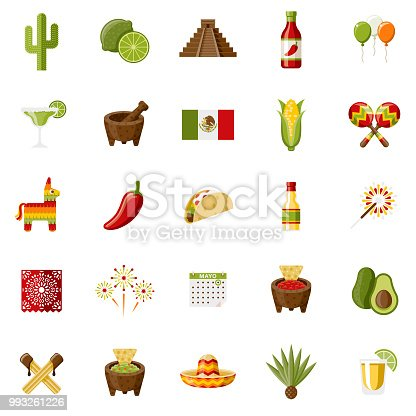 A set of 25 Mexico and Cinco de Mayo flat design icons on a transparent background. File is built in the CMYK color space for optimal printing. Color swatches are Global for quick and easy color changes.