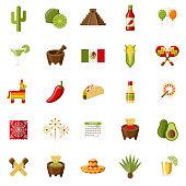Mexico Flat Design Icon Set
