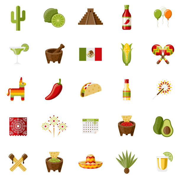 Mexico Flat Design Icon Set A set of 25 Mexico and Cinco de Mayo flat design icons on a transparent background. File is built in the CMYK color space for optimal printing. Color swatches are Global for quick and easy color changes. avocado clipart stock illustrations