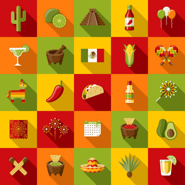 Mexico Flat Design Icon Set with Side Shadow A set of flat design styled Mexican and Cinco de Mayo and alternative treatment icons with a long side shadow. Color swatches are global so it's easy to edit and change the colors. avocado clipart stock illustrations
