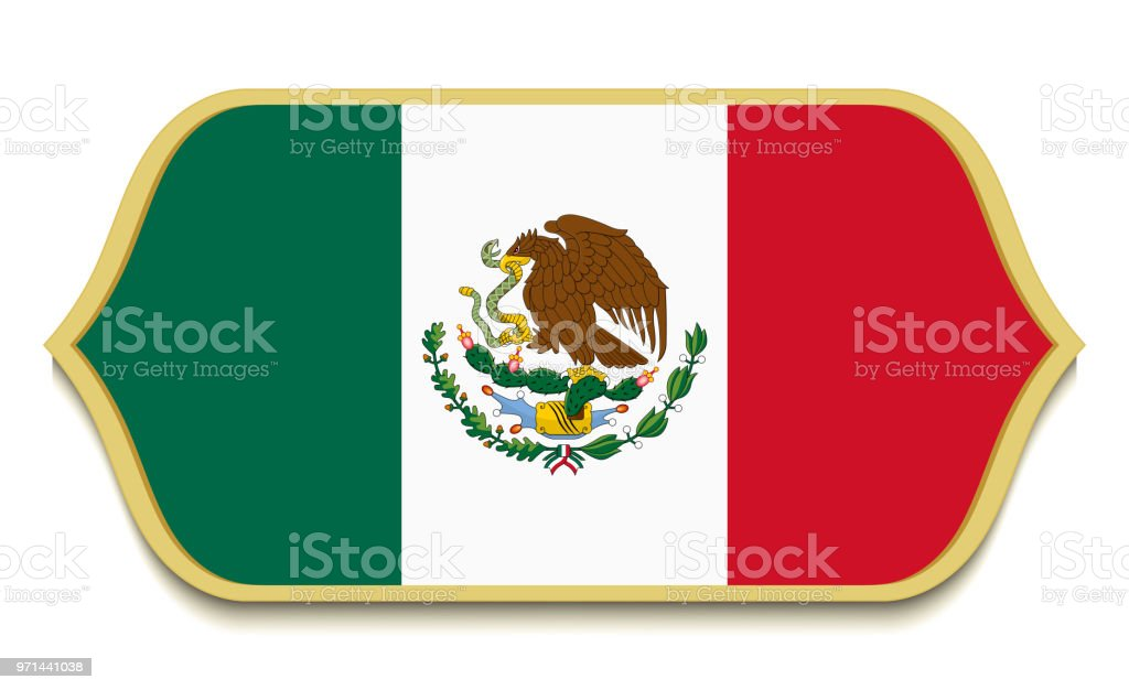 Mexico Flat National Flag Icon Button Mexican Symbol Isolated On