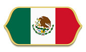 Mexico. Flat national flag icon button. Mexican symbol isolated on white background.