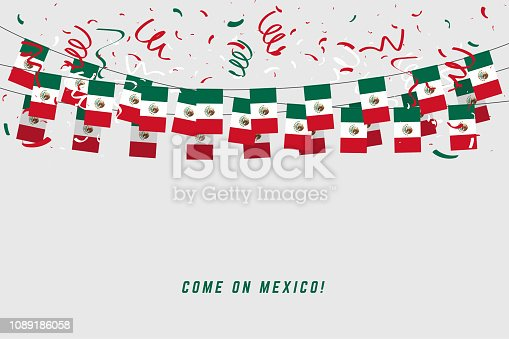 Mexico garland flag with confetti on gray background, Hang bunting for Mexico celebration template banner.