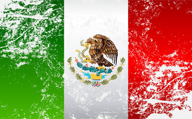 Mexico Grunge Texture Flag vector art illustration