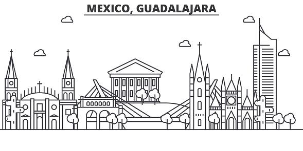 Mexique Illustration De Skyline Guadalajara Architecture