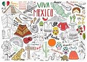 Mexico hand drawn sketch set vector illustration