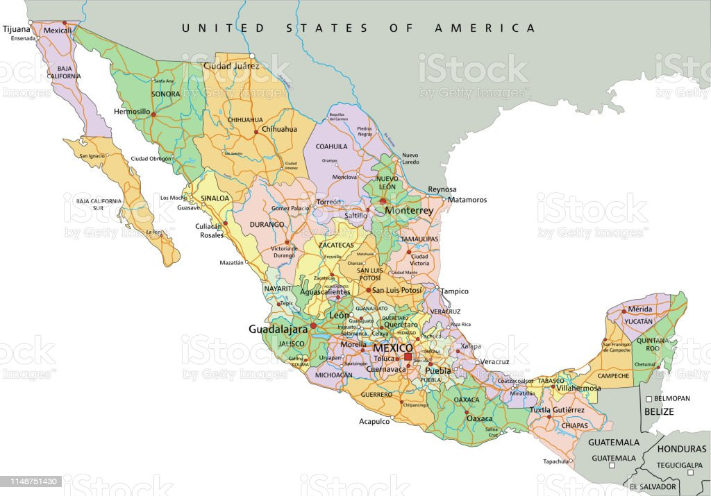Picture of: Mexico Highly Detailed Editable Political Map With Labeling Stock Illustration Download Image Now Istock
