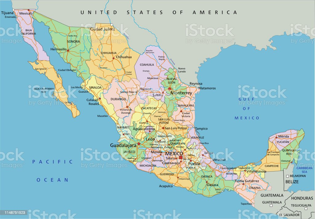 Mexico Highly Detailed Editable Political Map With Labeling ...