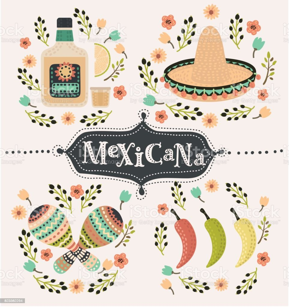 Mexico icons set vector art illustration