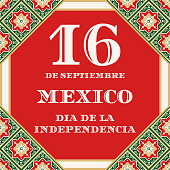 Mexico Independence Day (Dia de la Indepencia), 16 September, illustration vector. Traditional talavera tile ornament pattern. Background for carnival banner, mexican fiesta flyer, holiday poster.