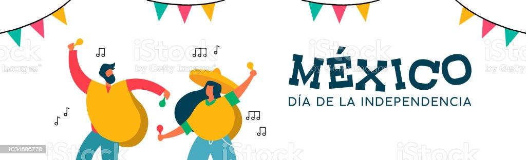 メキシコ独立記念日バナー楽しい友人のパーティー お祝いのベクター