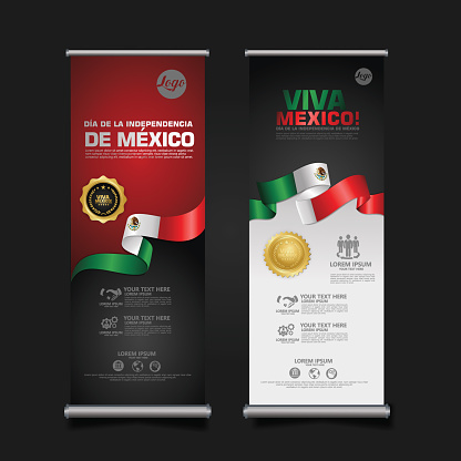 Mexico Independence Day Celebration, roll up banner set design template