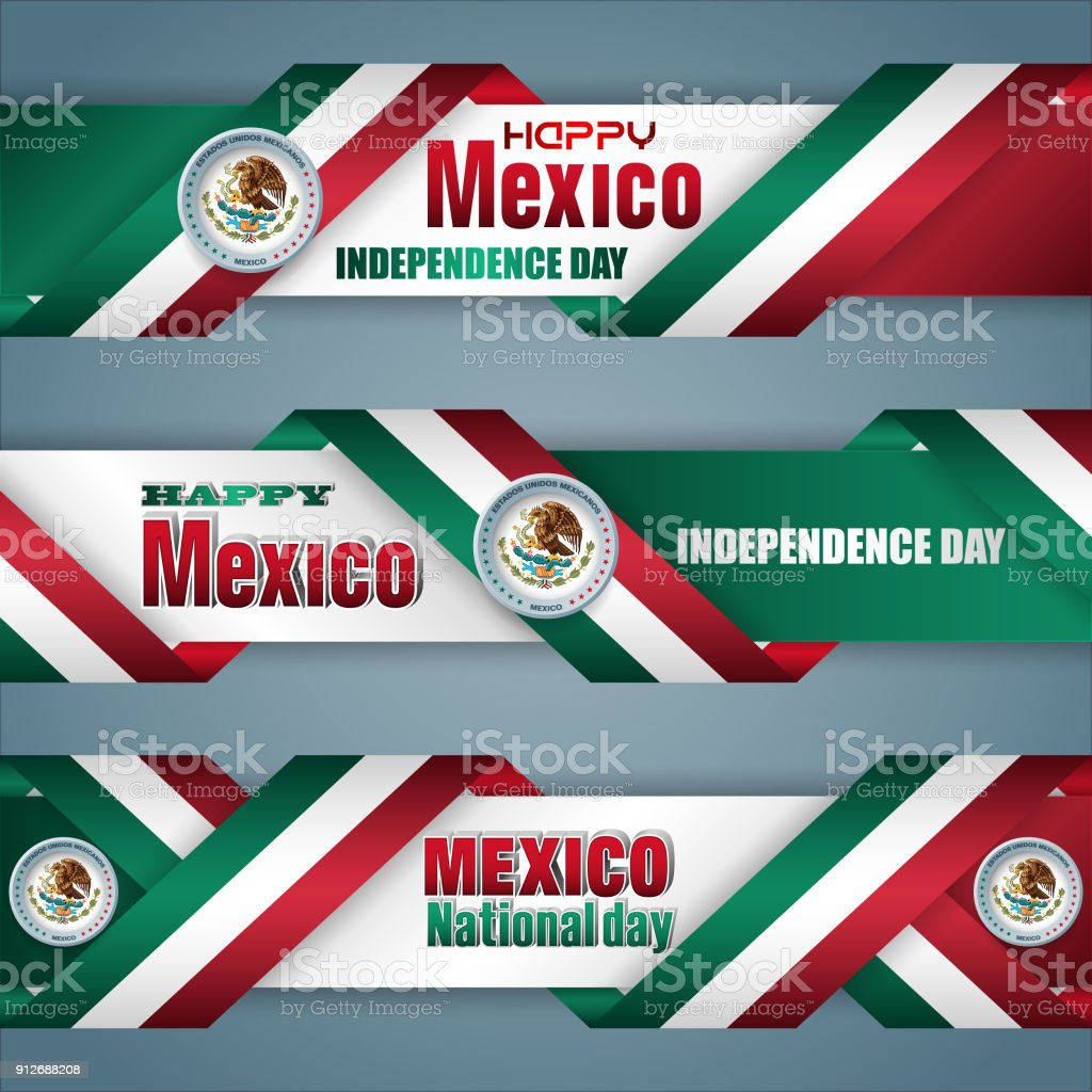 Mexico, Independence day celebration, web banners vector art illustration