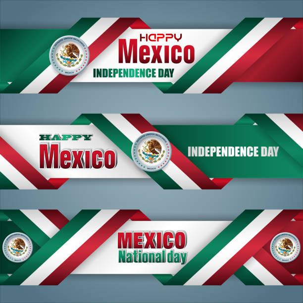 ilustraciones, imágenes clip art, dibujos animados e iconos de stock de méxico, celebración del día de la independencia, banners de web - bandera mexicana